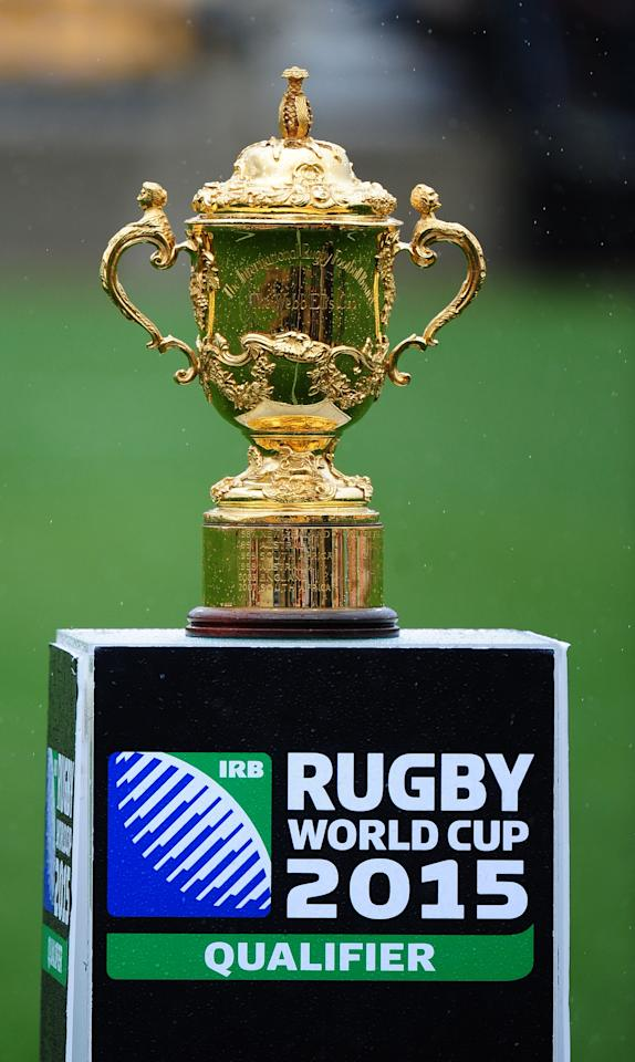KENNESAW, GA - MARCH 29: The Rugby World Cup is on display before the opening qualifying match of the 2015 IRB Rugby World Cup between the USA Eagles and Uruguay at Fifth Third Bank Stadium on March 29, 2014 in Kennesaw, Georgia. (Photo by Scott Cunningham/Getty Images)