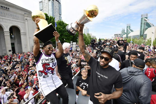 The Toronto Raptors are responsible for a small surge in Canada's gross domestic product for the month of May. (THE CANADIAN PRESS/Frank Gunn)