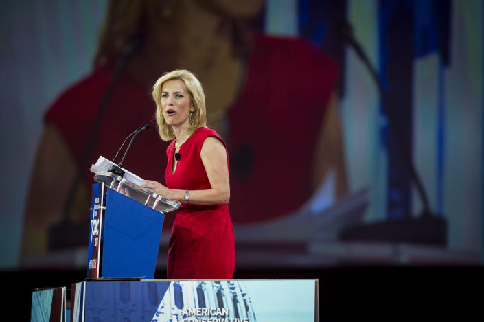 Laura Ingraham speaks at the Conservative Political Action Conference in National Harbor, Md., Feb. 23, 2018. (Pete Marovich/The New York Times)