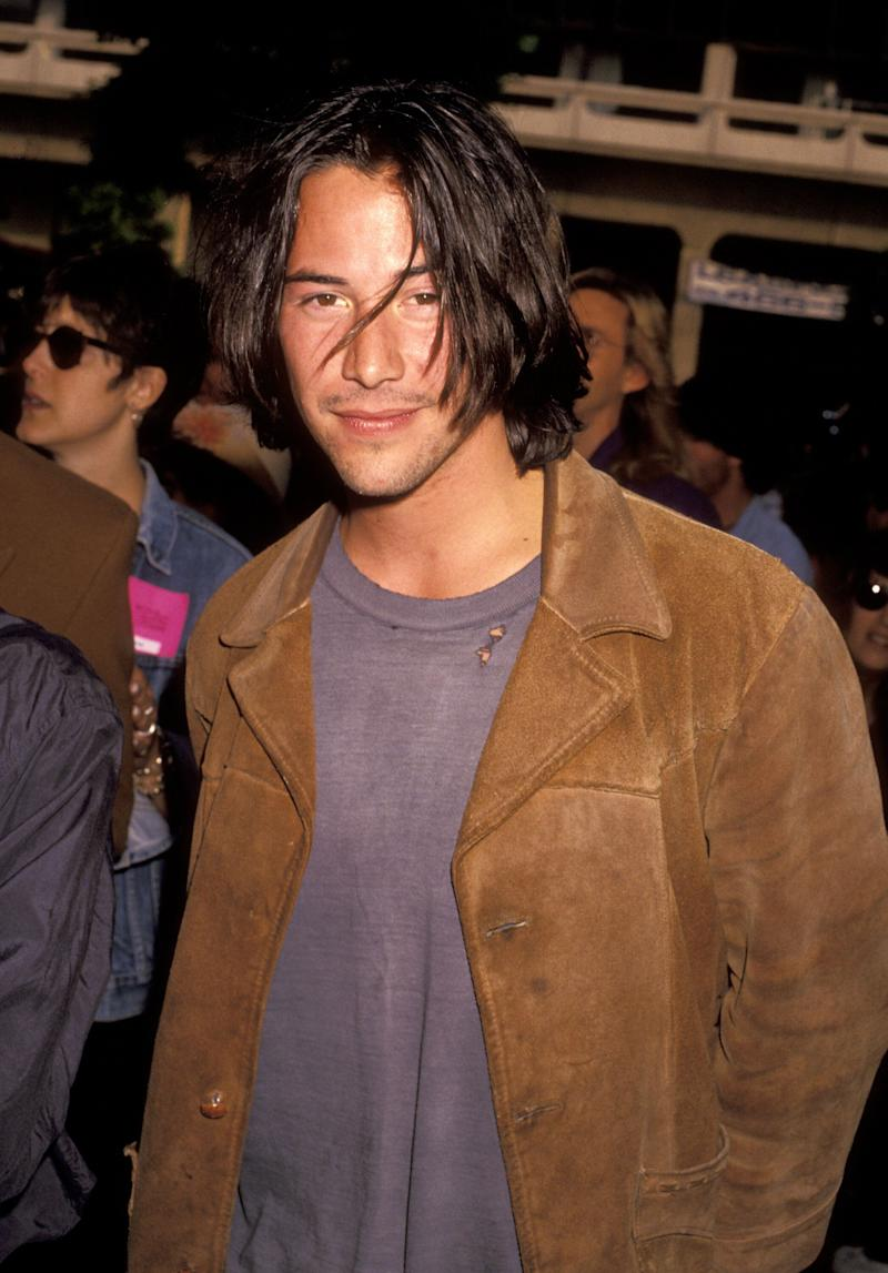 "Reeves during the ""Bill & Ted's Bogus Journey"" premiere in Hollywood, California."