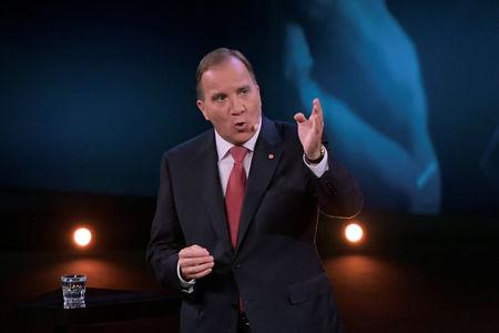 Stefan Lofven, leader of the Social Democratic Party during a party leader duel with Ulf Kristersson, leader of the Moderate Party, broadcast by Sweden's tv-channel TV4 from Linkoping, Sweden September 8, 2018. TT News Agency/Anders Wiklund/via REUTERS