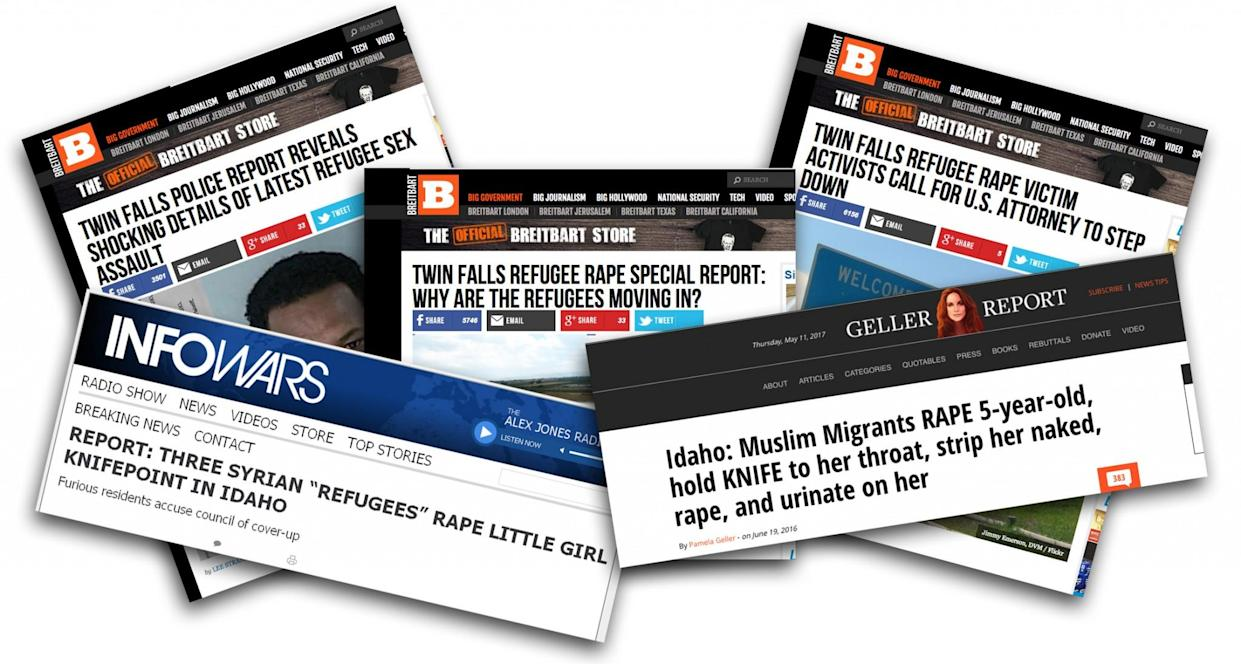 Headlines from Brietbart, infowars and the Geller Report. (Photo illustration: Yahoo News)