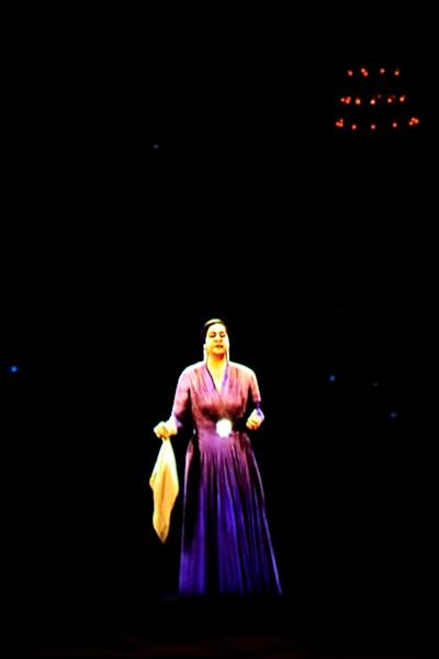 In a nod to her packed concerts of decades ago, the hologram was clad in a bright purple dress and clasped Umm Kulthum's signature handkerchief