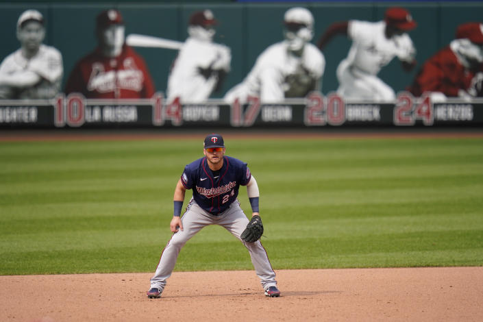 FILE - Minnesota Twins third baseman Josh Donaldson takes up his position during the fourth inning in the first game of a baseball doubleheader against the St. Louis Cardinals in St. Louis, in this Tuesday, Sept. 8, 2020, file photo. When Josh Donaldson was on the field in his first season with Minnesota, he produced and contributed the way the Twins planned. The problems were the pandemic-shortened schedule and the nagging calf injury that limited Donaldson to 28 games in 2020. He and the team are banking on a healthier year. (AP Photo/Jeff Roberson, File)