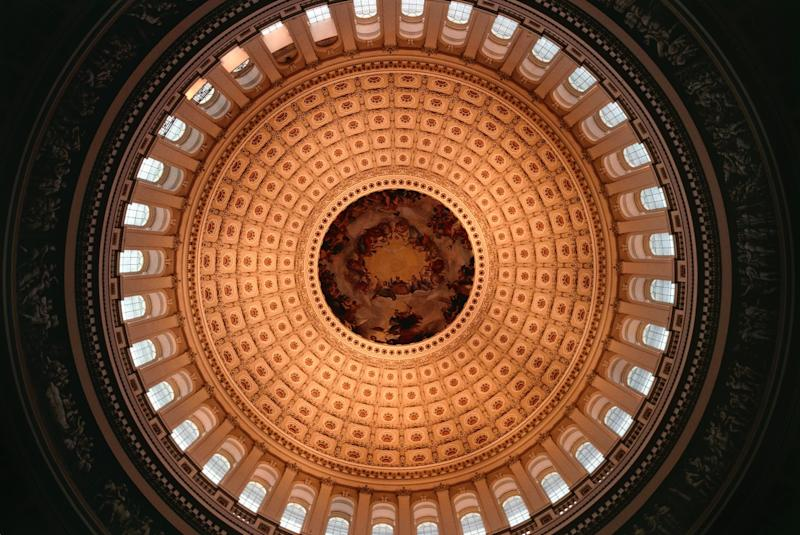 Interior of the Dome of the Capitol, 1865, seat of the United States Congress, Washington DC, District of Columbia. United States of America, 19th century. (Photo: DeAgostini/Getty Images)
