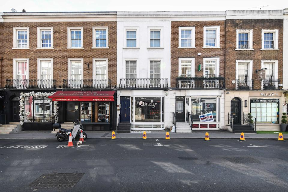 The sound of silent lockdown in London – here is Beauchamp Place in South Kensington (Damien Hewetson)