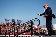 US President Donald Trump dances as he leaves after speaking during a Make America Great Again rally at Laughlin/Bullhead International Airport October 28, 2020, in Bullhead City, Arizona. (Photo by Brendan Smialowski / AFP) (Photo by BRENDAN SMIALOWSKI/AFP via Getty Images)