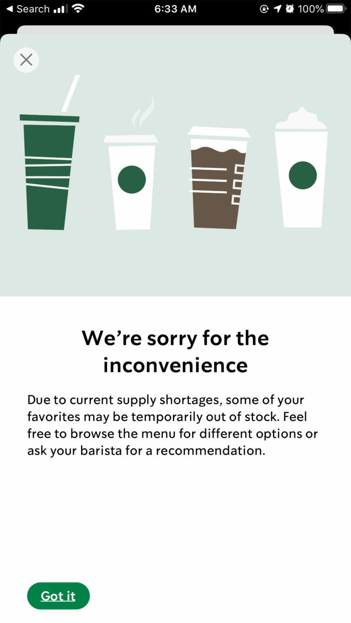 The Starbucks mobile app includes a warning for customers that some items may be out of stock. (Starbucks App)