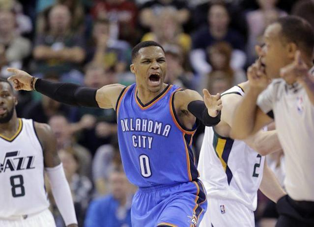 """<a class=""""link rapid-noclick-resp"""" href=""""/nba/players/4390/"""" data-ylk=""""slk:Russell Westbrook"""">Russell Westbrook</a> wants everyone to calm down. (Associated Press)"""