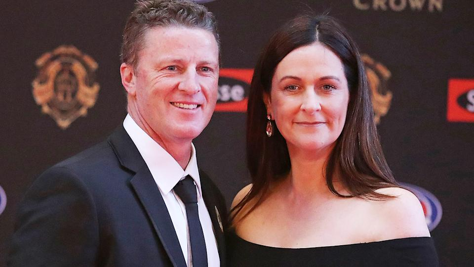Damien Hardwick, pictured here with wife Danielle at the 2017 Brownlow Medal.