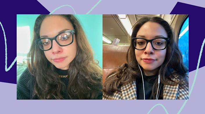 The photo on the left is from one of my frizzy-hair days. On the rightis me in the morning, after using the Revlon brush the night before. If my hair can survive the journey of NJ Transit and the New York subway system, it can survive anything. (Photo: Ambar Pardilla / HuffPost)