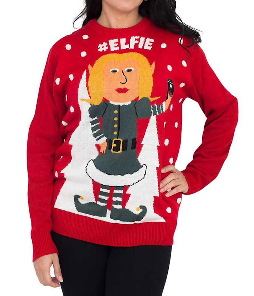 """<p>For all the influencers out there who love to take a good selfie.<br /><a rel=""""nofollow"""" href=""""https://fave.co/2B2XZNs""""><strong>Shop it:</strong></a> Women's #Elfie Hashtag Ugly Christmas Sweater, $50, <a rel=""""nofollow"""" href=""""https://fave.co/2B2XZNs"""">uglychristmasswewater.com</a> </p>"""