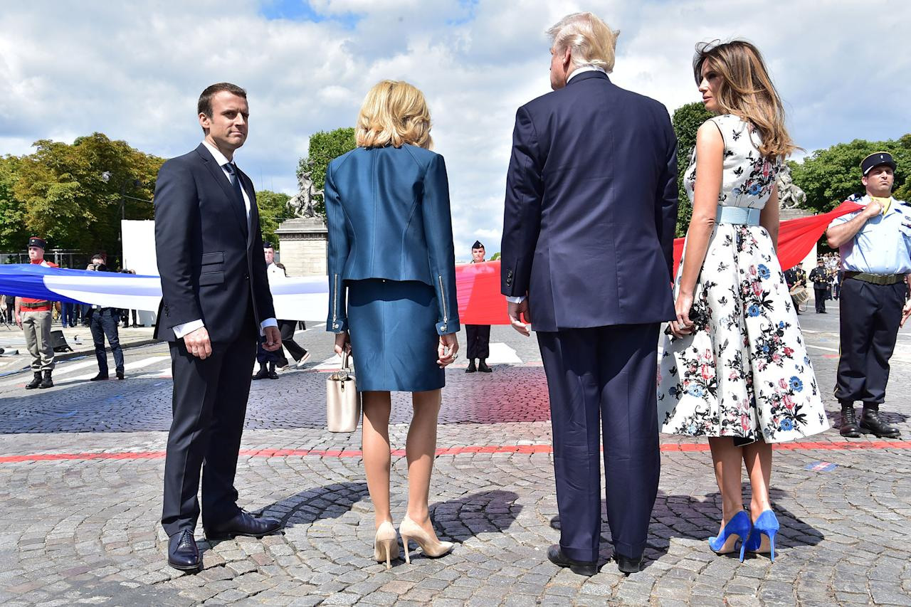 <p>French President Emmanuel Macron (L), President Donald Trump, Macron's wife Brigitte Macron and First Lady Melania Trump attend the traditional Bastille Day military parade on the Champs-Elysees avenue in Paris, France, July 14, 2017. (Photo: Christophe Archambault/Pool/Reuters) </p>