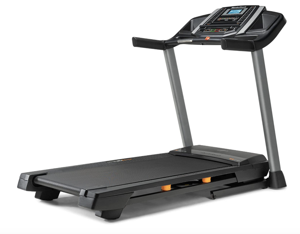 black NordicTrack T Series Treadmill for at home workouts
