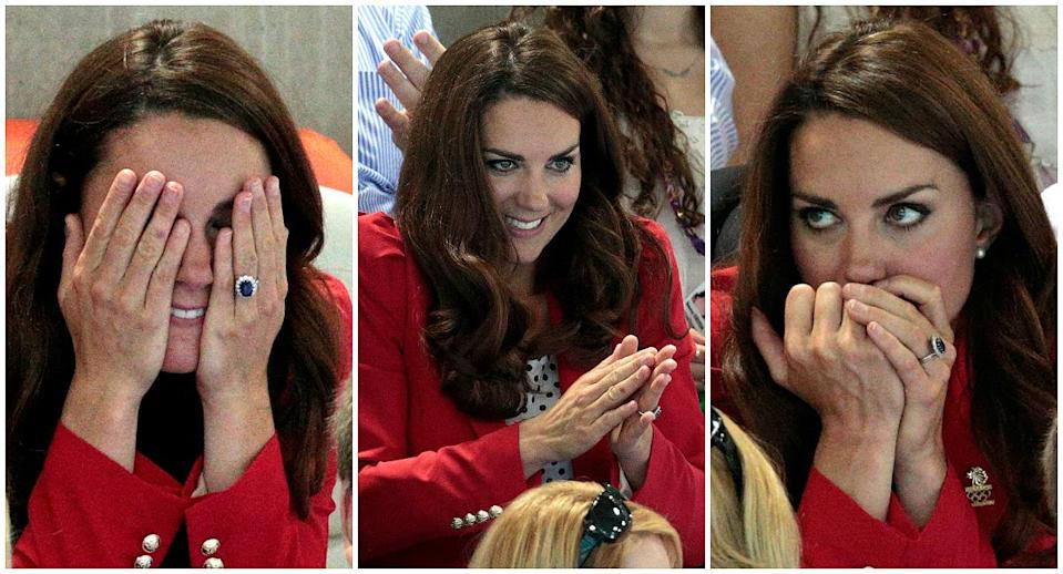 """<p>Both the Duchess of Cambridge and the queen are always seen wearing neutral-colored nail polish, but this likely is more about royal etiquette than personal choice. Royal wardrobe rules <a rel=""""nofollow"""" href=""""https://ca.style.yahoo.com/one-thing-youll-never-see-queen-duchess-cambridge-wearing-131230579.html"""" data-ylk=""""slk:state;outcm:mb_qualified_link;_E:mb_qualified_link;ct:story;"""" class=""""link rapid-noclick-resp yahoo-link"""">state</a> that no brightly colored nail polish should be worn during public engagements. Here, Kate Middleton's pale nails are visible at an Olympic event during the London Games in 2012. (Photos: Getty Images) </p>"""