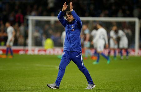 Soccer Football - Premier League - Burnley vs Chelsea - Turf Moor, Burnley, Britain - April 19, 2018 Chelsea manager Antonio Conte applauds fans after the match REUTERS/Andrew Yates