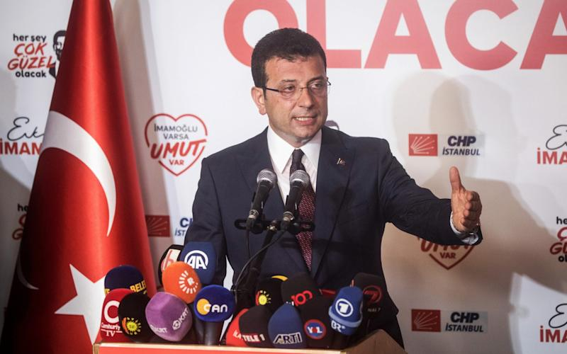 Ekrem Imamoglu of the Republican Peoples Party (CHP) gives a victory speech after winning the Istanbul Mayoral rerun election on June 23, 2019 in Istanbul, Turkey - Getty Images Europe