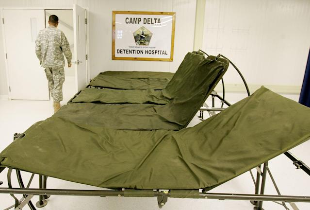 GUANTANAMO BAY, CUBA - MAY 09: (IMAGE REVIEWED BY U.S. MILITARY PRIOR TO TRANSMISSION) Portable beds that are used to for detainee's who are feed with a feeding tube sit in a room in the hospital for detainee's at Camp Delta May 9, 2006 in Guantanamo Bay, Cuba. There are currently three detainee's who refuse to eat and are fed with a feeding tube twice a day. Camp Delta was first occupied on April 28, 2002, when 300 detainees previously held at Camp X-Ray were transferred to Camp Delta. The rest of the detainees were moved on April 29. Camp X-Ray closed down on that same day. (Photo by Mark Wilson/Getty Images)
