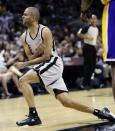 San Antonio Spurs' Tony Parker, of France, reacts after a play during the second half of Game 1 of their first-round NBA basketball playoff series against the Los Angeles Lakers, Sunday, April 21, 2013, in San Antonio. San Antonio won 91-79. (AP Photo/Eric Gay)