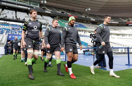 Rugby Union - Ireland Captain's Run - Stade de France Stadium, Saint-Denis, France - February 2, 2018 Ireland's Iain Henderson, Tadhg Furlong, Bundee Aki and Jonathan Sexton during the captain's run REUTERS/Gonzalo Fuentes