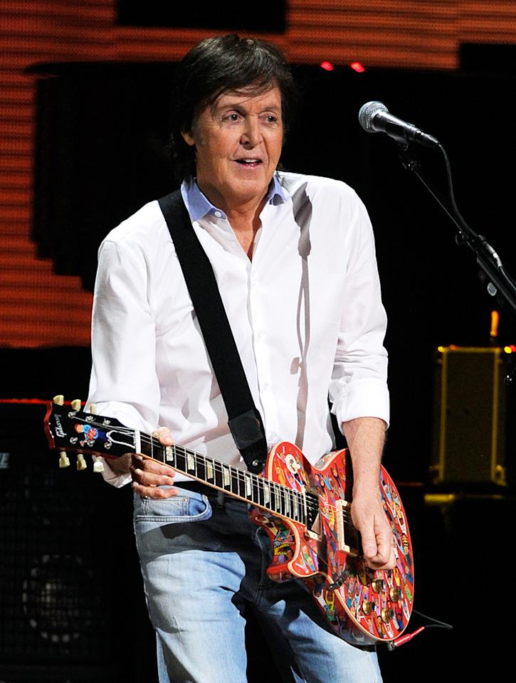 "Paul McCartney performs at ""12-12-12"" a concert benefiting The Robin Hood Relief Fund to aid the victims of Hurricane Sandy presented by Clear Channel Media & Entertainment, The Madison Square Garden Company and The Weinstein Company at Madison Square Garden on December 12, 2012 in New York City.  (Photo by Kevin Mazur/WireImage for Clear Channel)"