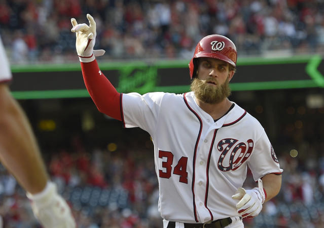 "<a class=""link rapid-noclick-resp"" href=""/mlb/players/8875/"" data-ylk=""slk:Bryce Harper"">Bryce Harper</a> will earn a $21.65M salary in 2018 before he becomes a free agent. (AP)"