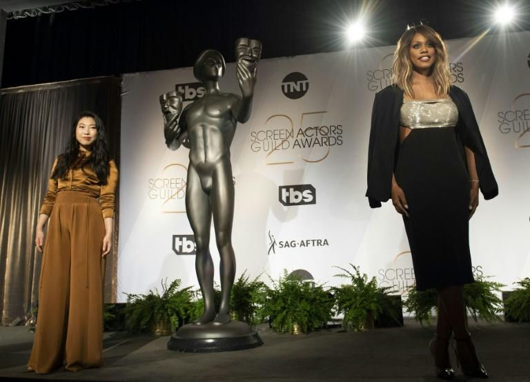 Rapper/actress Awkwafina (left) and actress Laverne Cox present the 25th Annual Screen Actors Guild Awards Nominations announcement at the Pacific Design Center, in West Hollywood, California, on December 12, 2018