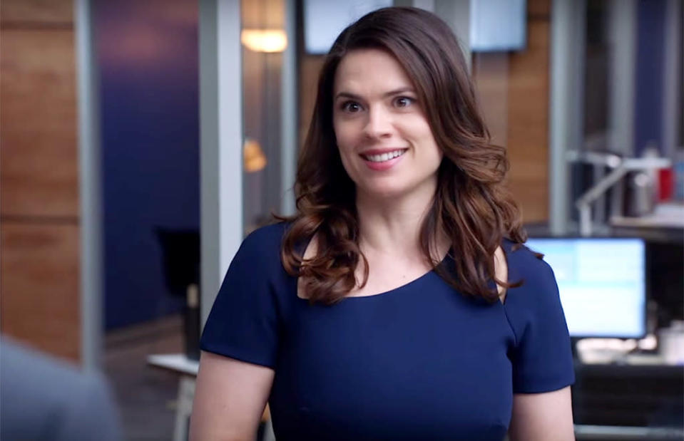 <p>Hayley Atwell in 'Conviction'</p><p><b>Last TV Gig:</b> The titular feminist icon Peggy Carter on <em>Marvel's Agent Carter</em>.<br><b>Next Up:</b> Hayes Morrison, a young attorney who is the daughter of a former U.S. president on ABC's <em>Conviction</em>. <br><br>(Credit: ABC)</p>