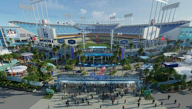A rendering of Dodger Stadium's upcoming $100 million dollar face lift.
