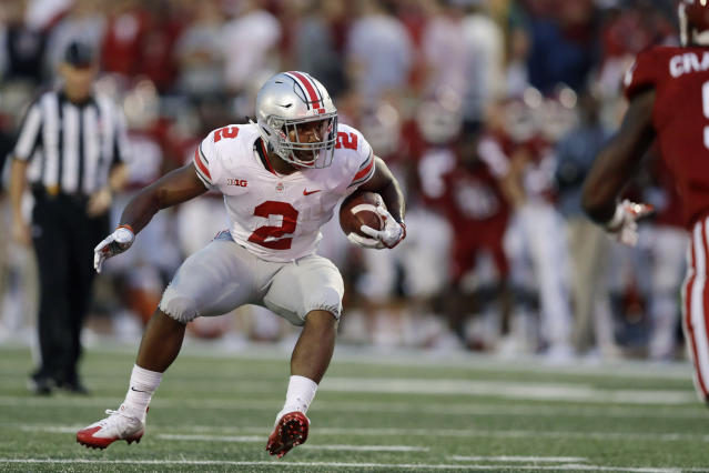 Ohio State's J.K. Dobbins ran for 181 yards in the Buckeyes' 49-21 victory over Indiana. (AP)