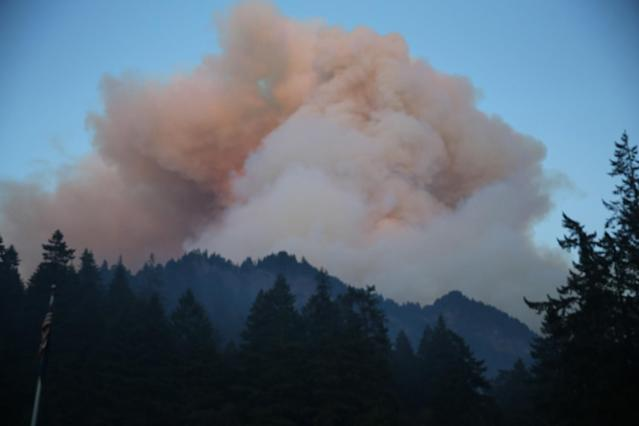 <p>Fire burns in the Eagle Creek area of Columbia River Gorge, Sept. 2, 2017. (Photo: Mark Graves/The Oregonian via AP) </p>
