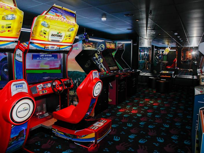 an arcade with games
