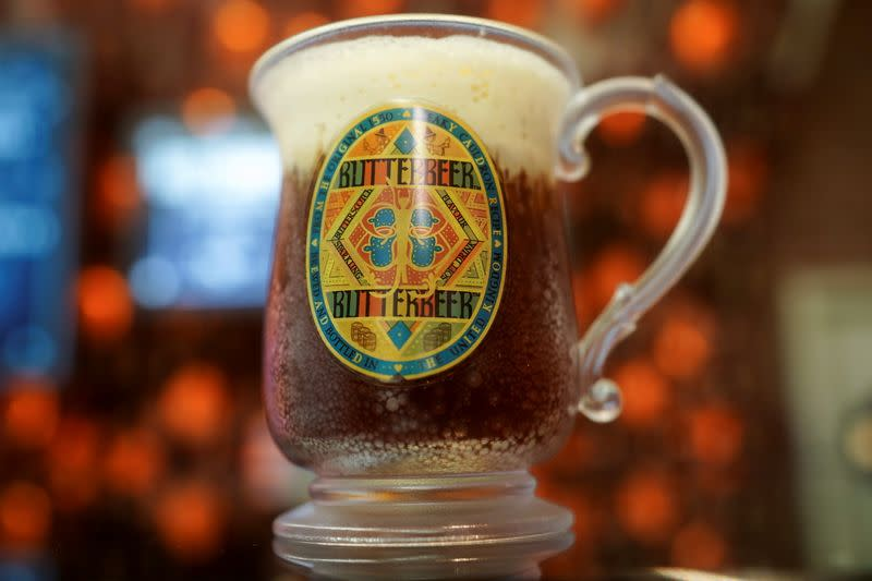 A mug of Butterbeer is pictured in New York City