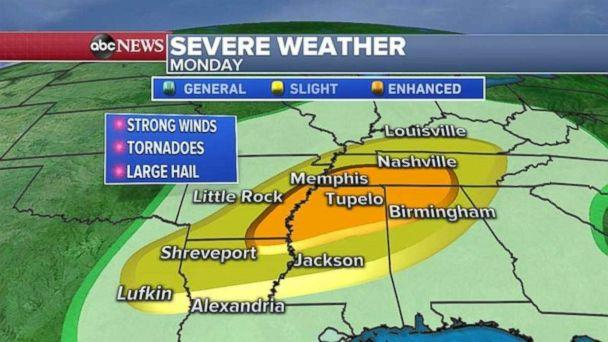 Severe weather stretches from Texas to Kentucky today. (ABC News)