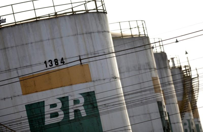 Tanks of Brazil's state-run Petrobras oil company are seen in Brasilia