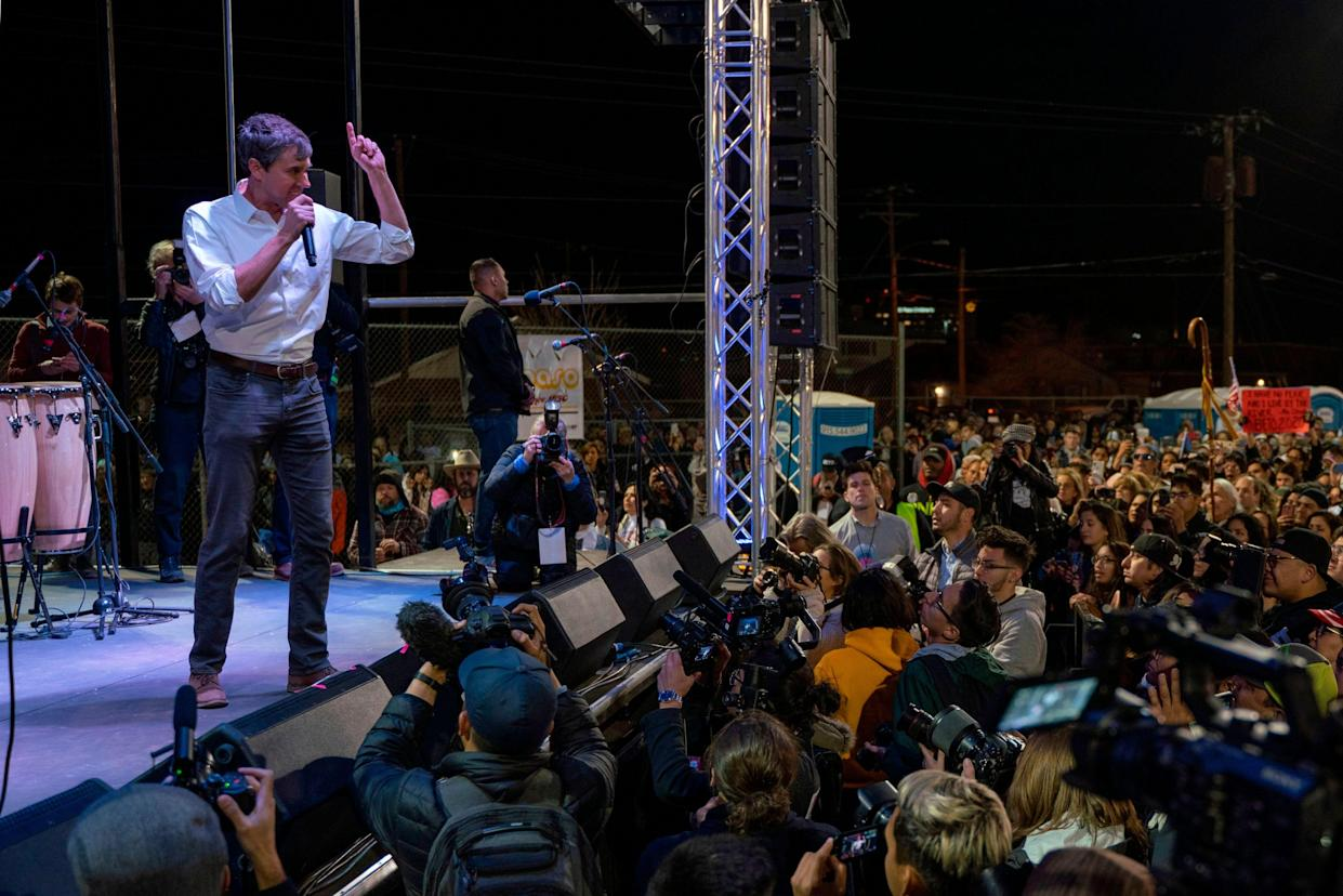 Former Rep. Beto O'Rourke, D-Texas, at the end of the rally. (Photo: Paul Ratje/AFP/Getty Images)