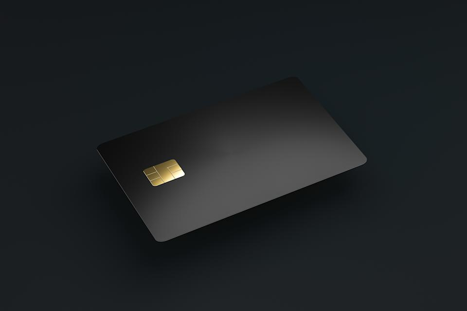 Blank credit or smart cards with emv chip on dark background and e-commerce business concept. Business cards template. 3D rendering.