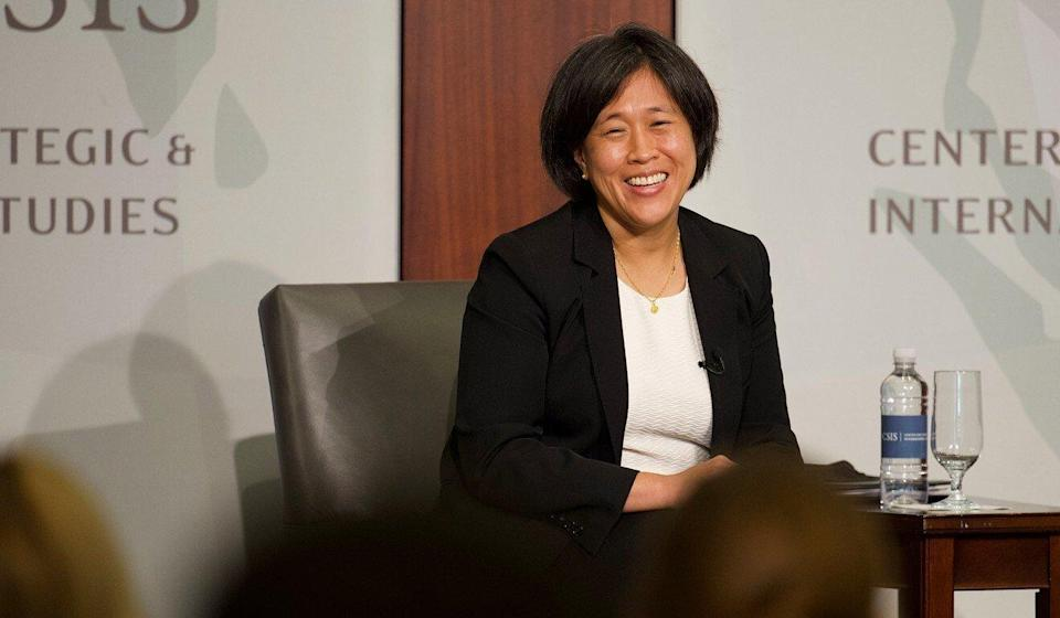 Katherine Tai, the US trade representative, speaking on Monday at the Centre for Strategic and International Studies in Washington, discussed the Biden administration's review of its China trade policy. Photo: Bloomberg