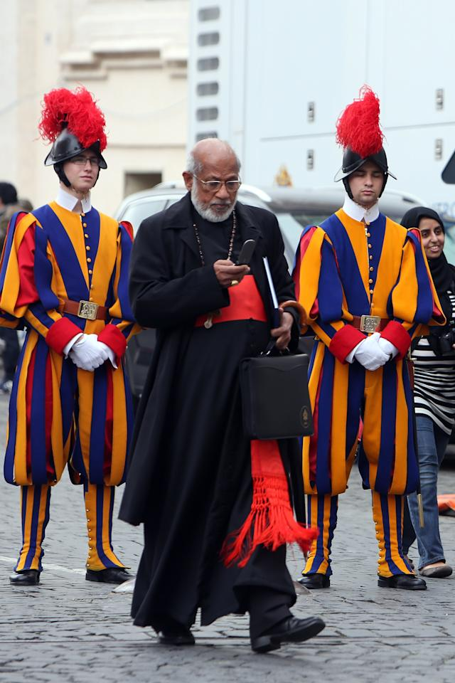 VATICAN CITY, VATICAN - MARCH 07:  Indian cardinal George Alencherry leaves the Paul VI Hall at the end of a session of cardinals general congregations on March 7, 2013 in Vatican City, Vatican. There is no indication as yet when a Papal conclave will take place following the resignation of Pope Benedict XVI. (Photo by Franco Origlia/Getty Images)