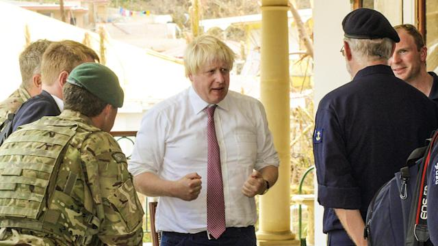 Boris Johnson has visited the British Virgin Islands in an attempt to assess relief efforts (AP)