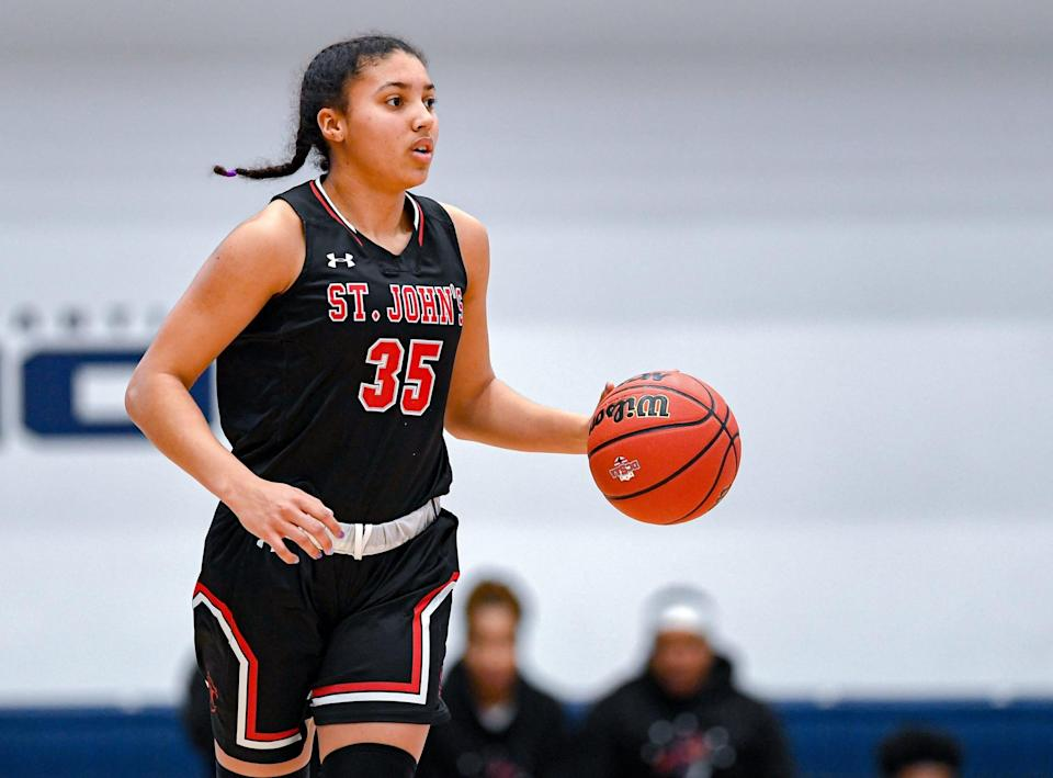 WASHINGTON, DC - MARCH 1: Shooting guard Azzi Fudd #35 of St. John's College High School handles the ball during the DCSAA Championship game against Sidwell Friends on March 1, 2020 at the George Washington's Smith Center in Washington, DC.