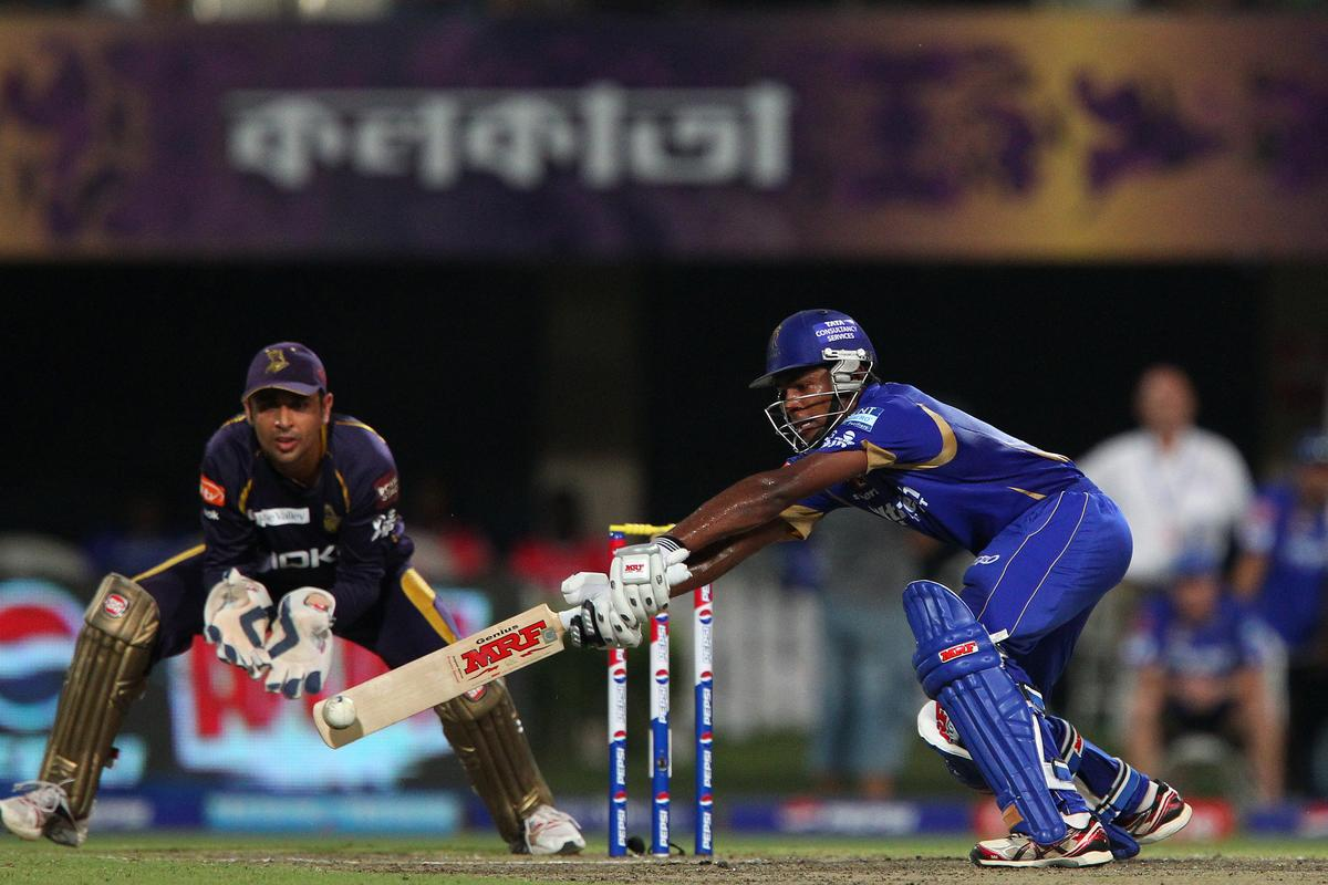 Sanju Samson runs down the wicket then has to be at full stretch to make the shot during match 47 of the Pepsi Indian Premier League between The Kolkata Knight Riders and the Rajasthan Royals held at the Eden Gardens Stadium in Kolkata on the 3rd May 2013..Photo by Ron Gaunt-IPL-SPORTZPICS  ..Use of this image is subject to the terms and conditions as outlined by the BCCI. These terms can be found by following this link:..https://ec.yimg.com/ec?url=http%3a%2f%2fwww.sportzpics.co.za%2fimage%2fI0000SoRagM2cIEc&t=1493081892&sig=YyY5o5LhSdNMl40ReRkvUQ--~C