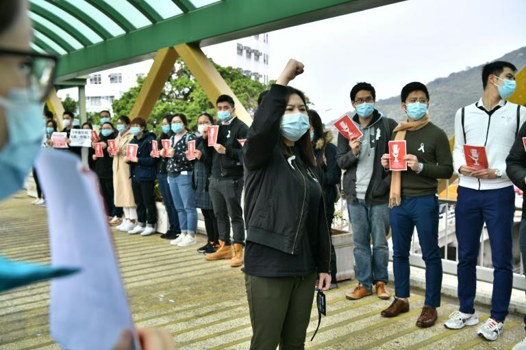 Currently only non-essential medical staff in Hong Kong are on strike (AFP Photo/Anthony WALLACE)