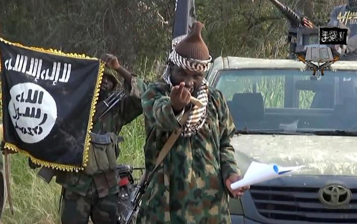 Screengrab taken on October 2, 2014, from a video released by the Nigerian Islamist extremist group Boko Haram shows the leader of the Nigerian Islamist extremist group, Abubakar Shekau (AFP Photo/)