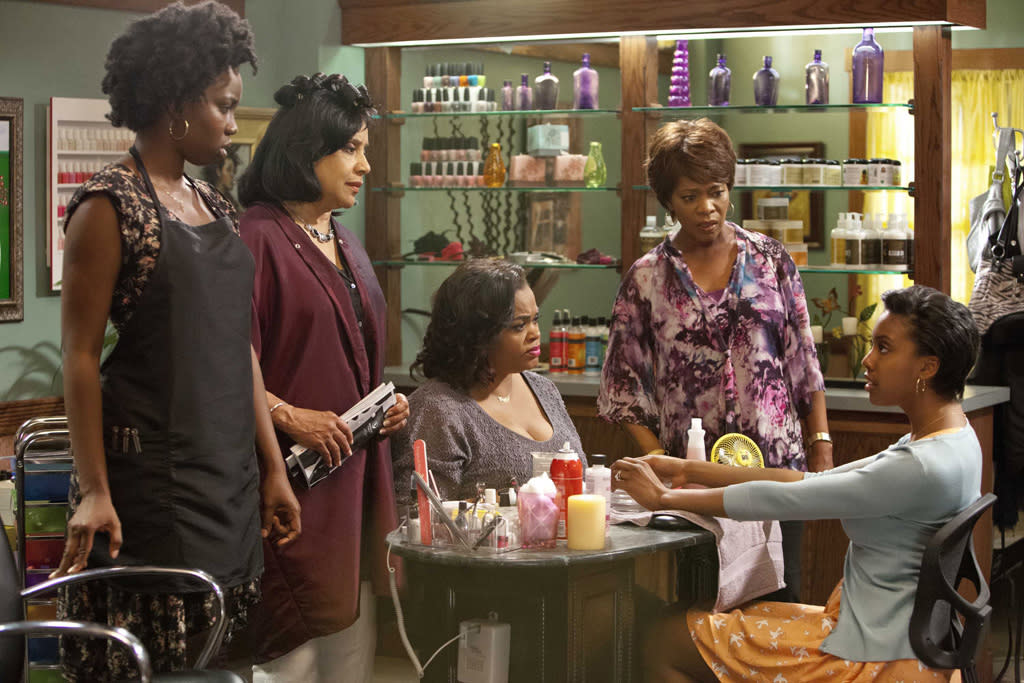 "Adepero Oduye (""Annelle""), Phylicia Rashad (""Clariee""), Jill Scott (""Truvy""), Alfre Woodard (""Ouiser"") and Condola Rashad (""Shelby"") star in the all-new Lifetime Original Movie, ""Steel Magnolias."""
