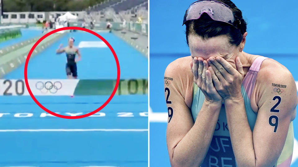 Flora Duffy, pictured here after winning Bermuda's first gold medal in Olympics history.