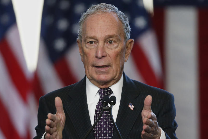 FILE - In this Jan. 19, 2020, file photo, Democratic presidential candidate Michael Bloomberg speaks at the Greenwood Cultural Center in Tulsa, Okla. They are circling each other like wary boxers, with taunts on Twitter, snarky asides and belittling depictions of one another. They rose to prominence in Manhattan on parallel tracks, amassed wealth real and perceived and displayed a penchant for putting their names on things.  President Donald Trump and Mike Bloomberg could hardly be more different as people but now they both want the same job: Trump's. (AP Photo/Sue Ogrocki, File)