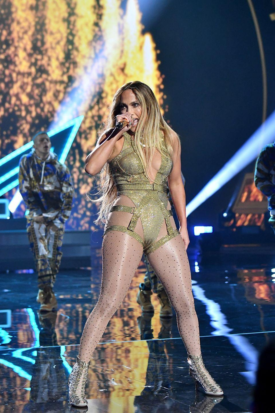 <p>How about her 2018 MTV Video Music Awards outfit? Which was basically a glittery lingerie-inspired bodysuit with bondage-style detailing.</p>