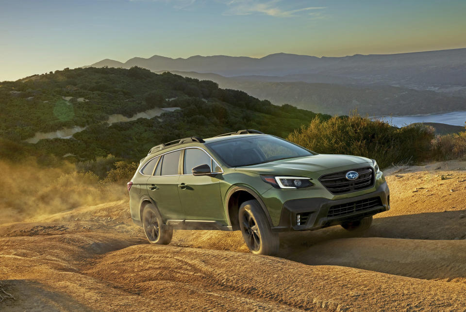 This undated photo from Subaru shows the Outback Onyx Edition XT, a midsize SUV that gets an EPA-estimated 29 mpg in mixed driving conditions. Subaru's Outback is one of the brand's best-selling vehicles, and the redesigned 2020 Outback is particularly intriguing. (Courtesy of Subaru of America via AP)