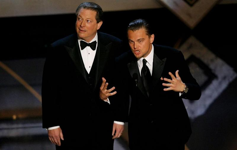 An Inconvenient Truth won an Oscar in 2007 - Al Gore pictured with Leonardo DiCaprio at the awards. Source: Getty